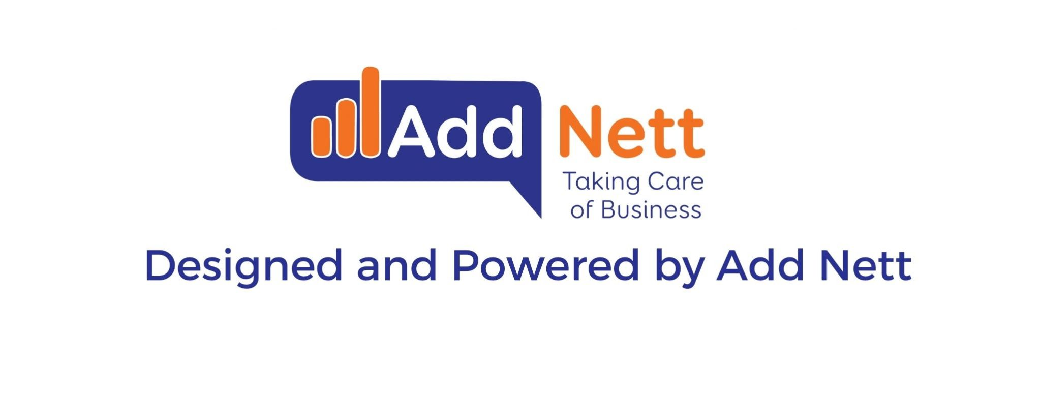 blue and orange built with Addnett logo